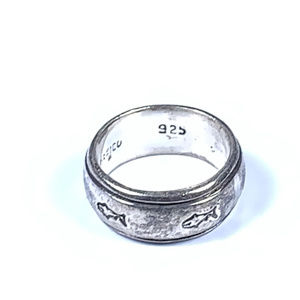 Sterling Silver Fish Faith Band Ring 6